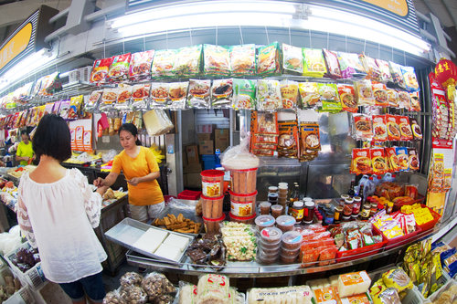 All kinds of food at the neighborhood wet market